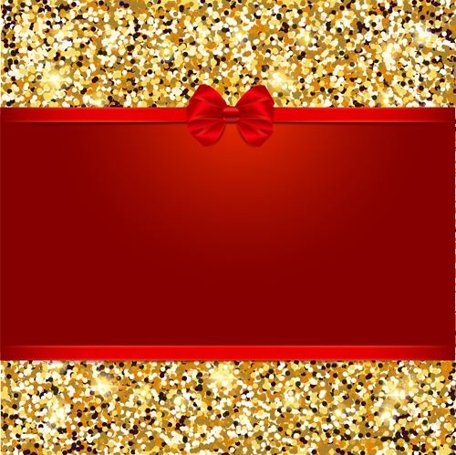 Red Bow With Gold Luxury Background Vectors 03 Vector