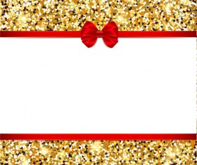 Red bow with gold luxury background vectors 04