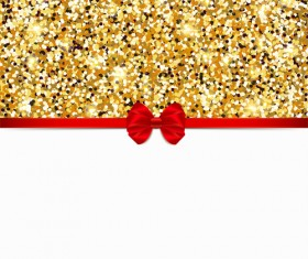 Red bow with gold luxury background vectors 05