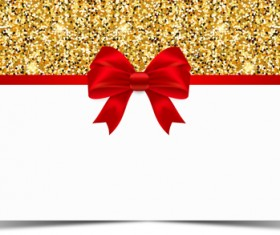 Red bow with gold luxury background vectors 06