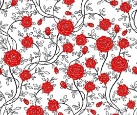 Red flower seamless patterns vector