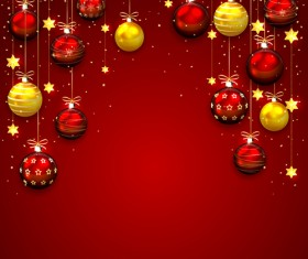 Red with golden christmas balls with baubles vector