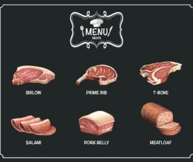 Restaurant meats menu vector material 01
