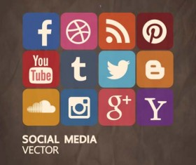 Retro Square Social Media Icons Vector