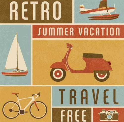 Retro travel posters vectors material