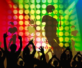 Revelry party background with people silhouetters vector 02