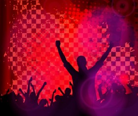 Revelry party background with people silhouetters vector 04
