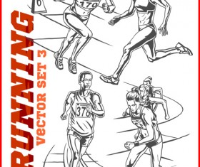 Running hand drawn vector material