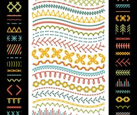 Sewing colored border seamless vector 01
