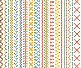 Sewing colored border seamless vector 02