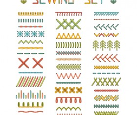 Sewing colored border seamless vector 03