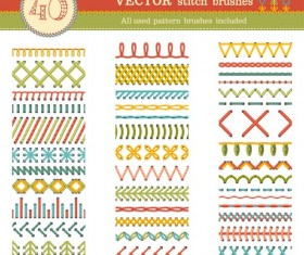 Sewing colored border seamless vector 04