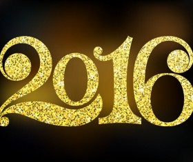 Shiny 2016 new year text design vector