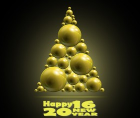 Shiny balls with 2016 new year background vector 01