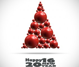 Shiny balls with 2016 new year background vector 02