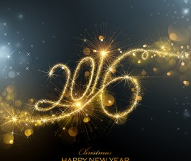 Shiny gold 2016 new year vector backgrounds