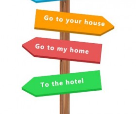 Signpost wooden board psd material