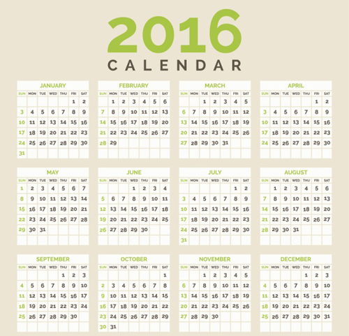 Minimalistic Calendar Design : Simple calendar design vectors vector free