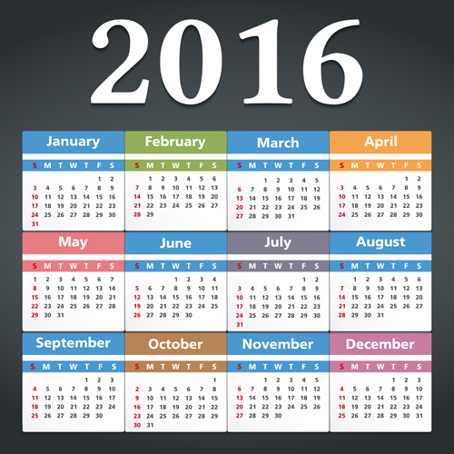 Simple 2016 calendars colored vector 01