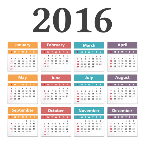 Simple 2016 calendars colored vector 02
