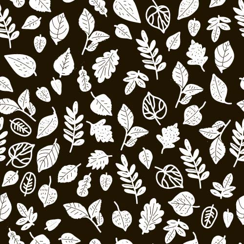 Simple Leaves Pattern Seamless Vector 05 Free Download