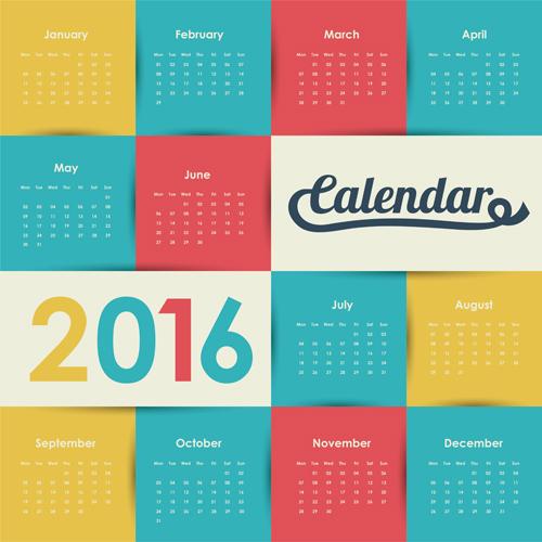 simple wall calendar 2016 design vectors set 07 free download
