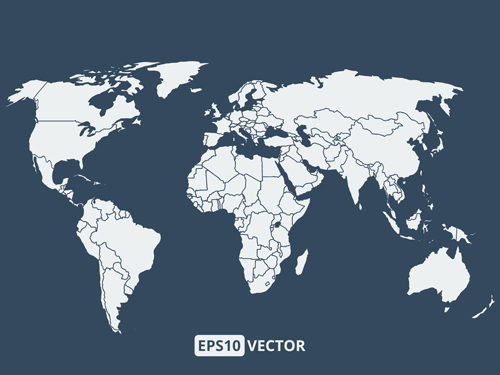 Simple world map vectors graphcs 02 free download