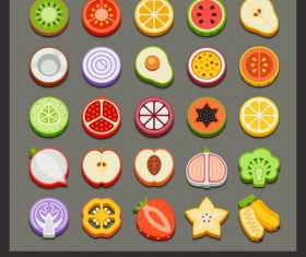 Sliced fruits icons set