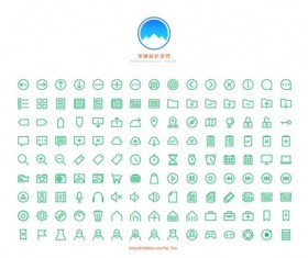 Small fine web icons green vector