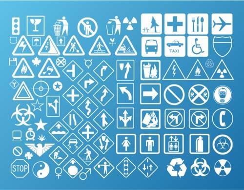 Social Warning signs vector material set