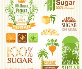 Sugar labels with logos vector material 01