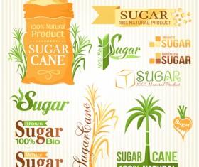 Sugar labels with logos vector material 03