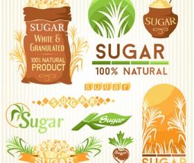 Sugar labels with logos vector material 04