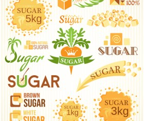 Sugar labels with logos vector material 05