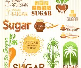 Sugar labels with logos vector material 06