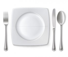 Tableware with empty plate vector 09