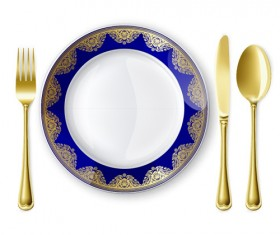 Tableware with empty plate vector 10