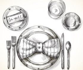 Tableware with empty plate vector 11
