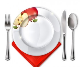 Tableware with empty plate vector 12
