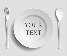 Tableware with empty plate vector 13