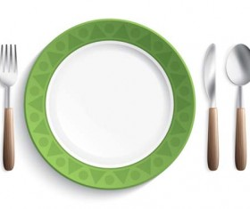 Tableware with empty plate vector 14