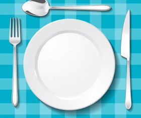 Tableware with empty plate vector 15