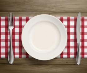 Tableware with empty plate vector 16