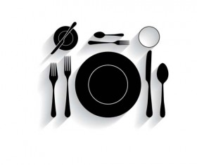 Tableware with empty plate vector 17