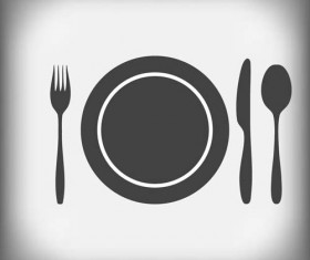 Tableware with empty plate vector 18