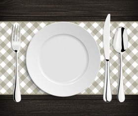 Tableware with empty plate vector 19