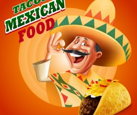 Tacos mexican food poster vintage vector