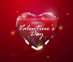 Transparent heart with Valentine background vector 03