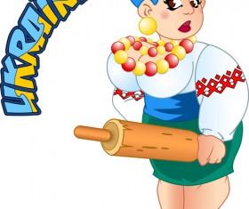 Ukraine cartoon characters vector set 09