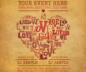 Valentine day vintage party poster vector